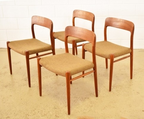 Set of 4 No. 75 dinner chairs from the sixties by Niels Otto Møller for unknown producer