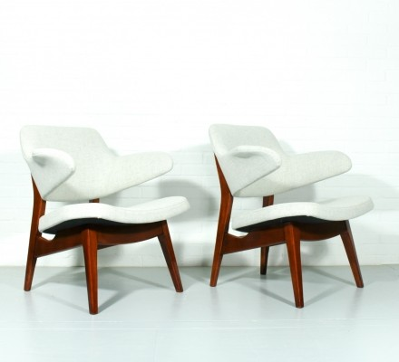 Set of 2 lounge chairs from the fifties by Louis van Teeffelen for Wébé
