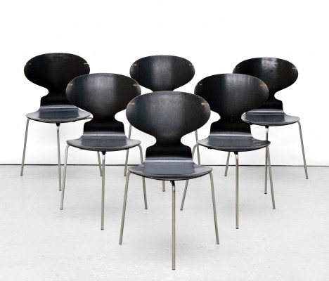 6 3100 Ant dinner chairs from the fifties by Arne Jacobsen for Fritz Hansen