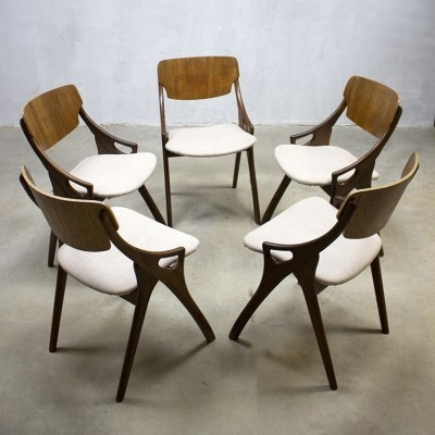 Set of 5 dinner chairs from the fifties by Arne Hovmand Olsen for Mogens Kold