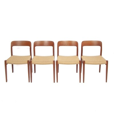 Set of 4 No 75 dinner chairs from the fifties by Niels O. Møller for J L Møller