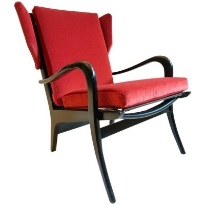Black & red velvet chair 1950's