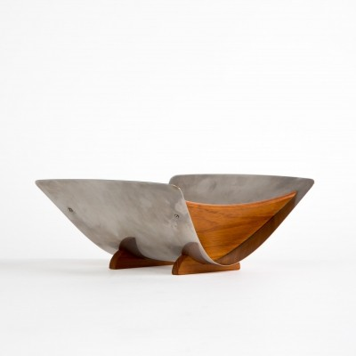 Arthur Salm stainless steel fruit bowl with teak wood