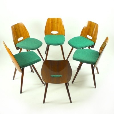 Set of 6 22-19 (Lollipop) dinner chairs by František Jirák for Tatra Nabytok NP, 1960s