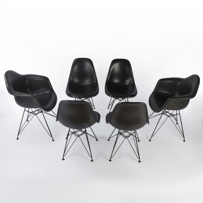 Set of 6 All Black Fiberglass Arm & Side Shells on Black Eiffel Bases dinner chairs from the seventies by Charles & Ray Eames & Alexander Girard for Herman Miller