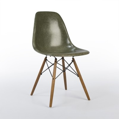 22 Olive Green DSW dinner chairs from the fifties by Charles & Ray Eames for Herman Miller