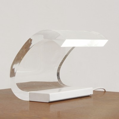 Acrilica (old edition in white) desk lamp by Gianni Colombo & Joe Colombo for Oluce, 1960s
