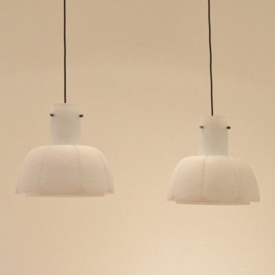 6 hanging lamps from the seventies by unknown designer for Glashütte Limburg