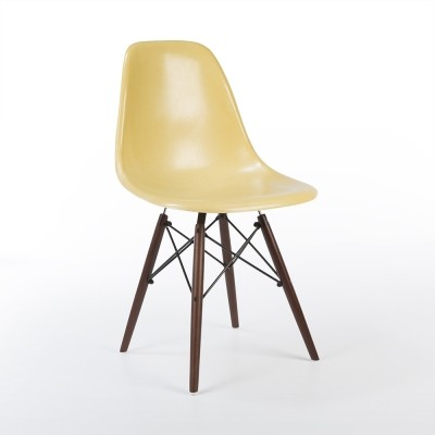 Ochre DSW dinner chair from the sixties by Charles & Ray Eames for Herman Miller