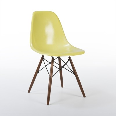 3 Yellow DSW dinner chairs from the sixties by Charles & Ray Eames for Herman Miller