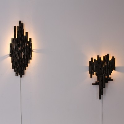 Pair of Brutalist wall lamps by Marcello Fantoni, 1960s