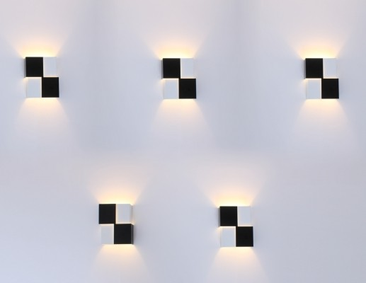 Set of 5 Cube wall lamps by J. Hoogervorst for Anvia Almelo, 1950s