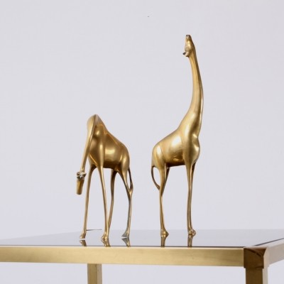 Brass animal sculptures giraffes from the sixties by unknown designer for unknown producer