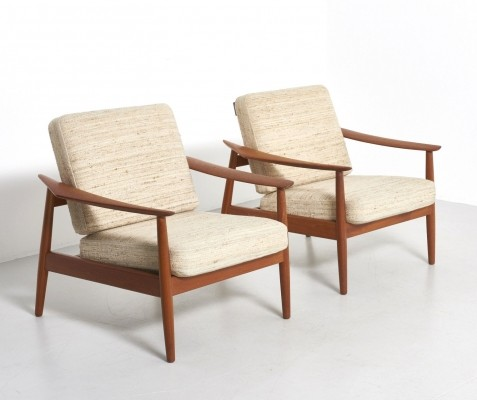 Set of 2 Model 164 lounge chairs from the sixties by Arne Vodder for France & Son