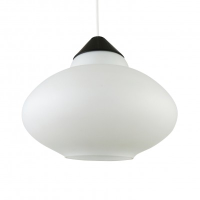 Black & white milk glass pendant from the sixties by Philips Holland