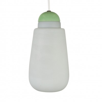 Milk glass pendant by Philips with a pastel green top