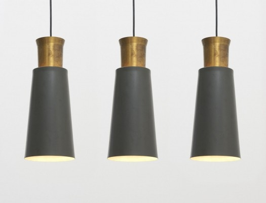 Large pendants - Grey lacquered metal & brass detail