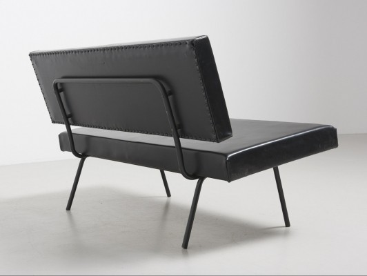 2-seat sofa by Florence Knoll in black imitation leather