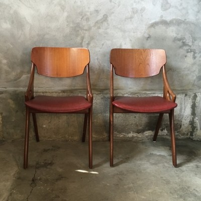 Set of 2 dinner chairs from the fifties by Arne Hovmand Olsen for Mogens Kold