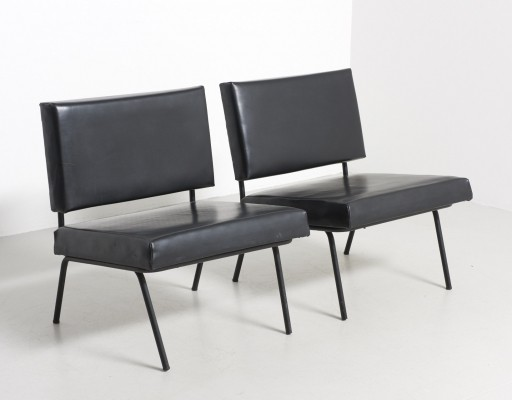 Florence Knoll easy chairs - Black imitation leather