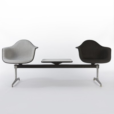 Black & White Upholstered Eames Black Fibreglass Arm Shells on Tandem Bench