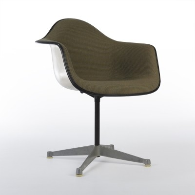 Green Hop-Sack Upholstered Eames Arm Shell on Contract Base