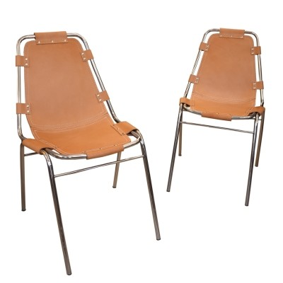 Pair of Les Arcs dinner chairs by Charlotte Perriand, 1970s