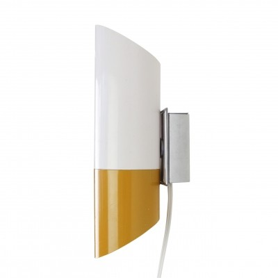 Ochre & white cylinder wall light from the sixties