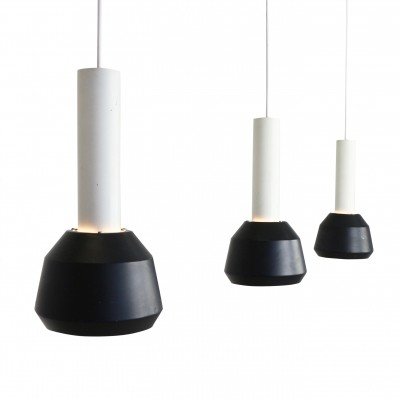 Set of 3 black & white Philips pendant lights, 1960s