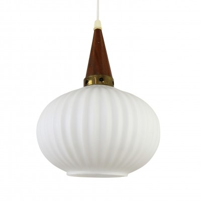 Pendant from the sixties with frosted glass & teak wood