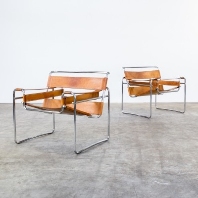 Set of 2 Wassily B3 lounge chairs from the sixties by Marcel Breuer for Gavina