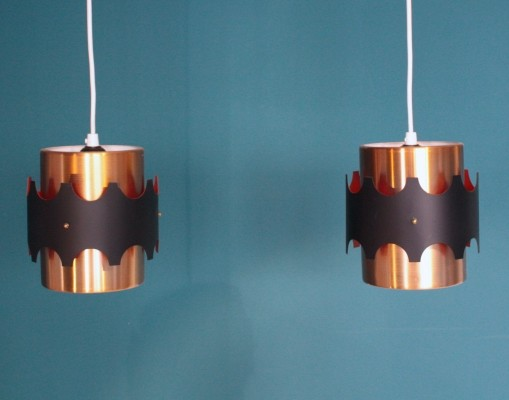 Set of 2 hanging lamps from the seventies by unknown designer for unknown producer