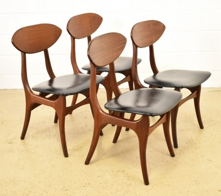 Set of 4 dining chairs by Louis van Teeffelen for AWA, 1950s