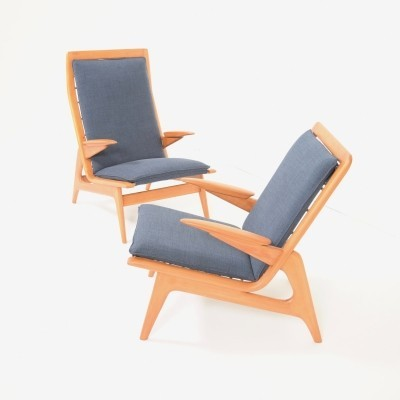 Set of 2 Elm wood arm chairs from the sixties by unknown designer for De Ster Gelderland