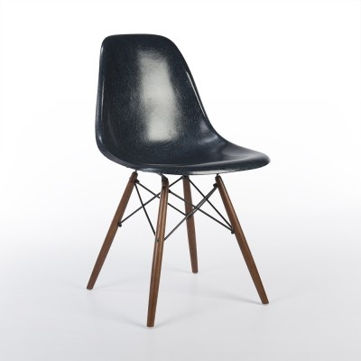 Navy Blue Eames Side Shell on Maple Wood DSW Base