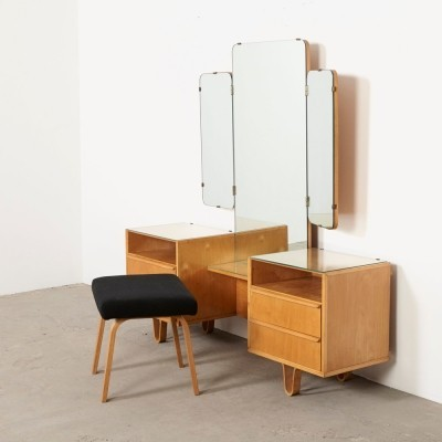 Dressing table + PB02 Stool by Cees Braakman for Pastoe, 1950s