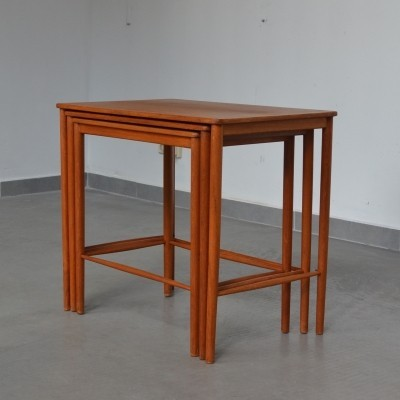 Set of 3 nesting tables by Grete Jalk for P. Jeppesens Møbelfabrik, 1960s