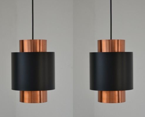 2 x Tunika hanging lamp by Jo Hammerborg for Fog & Mørup, 1960s