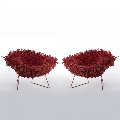 Pair of Harry Bertoia Hairy Diamond Chairs by Douglas Homer