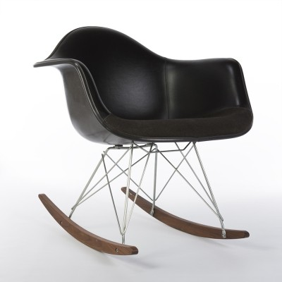 Black Upholstered Two-Tone Vinyl & Fabric Black Eames Arm Shell on RAR Base