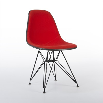Red Upholstered Black Eames Side Shell on Black DSR Base