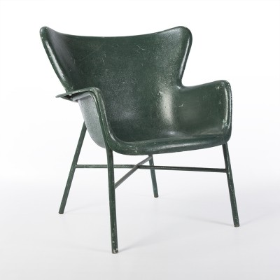 Original Lawrence Peabody Green Fibreglass Chairs