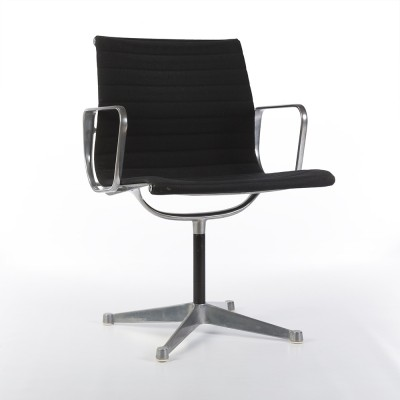 Original Eames Low Back Black Ribbed Fabric Office Chairs on Contract Base