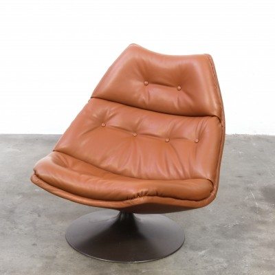 Artifort F510 designed by Geoffrey Harcourt in cognac coloured leather