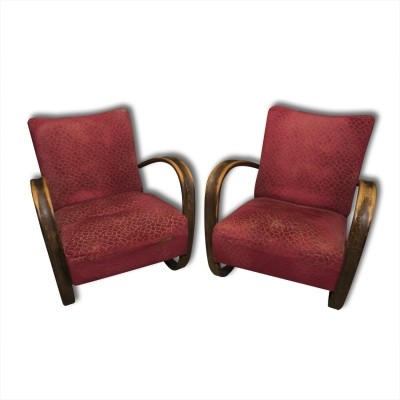Set of 2 arm chairs from the thirties by Jindřich Halabala for Spojene UP Zavody