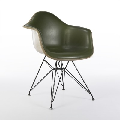 Original Green Upholstered Eames Greige Shell DAR Chair