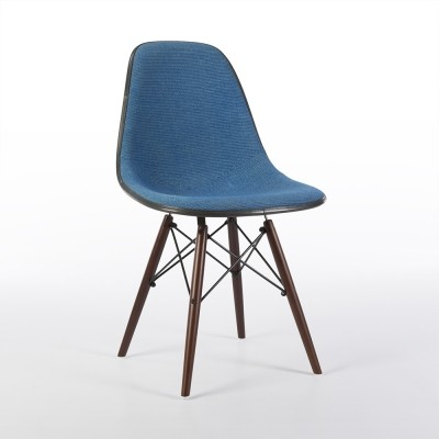 Original 'Speckled' Light Blue Alexander Girard Upholstered Eames DSW Side Shell Chair