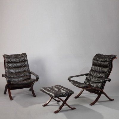 Set of 2 Safari arm chairs from the sixties by Ingmar Relling for Westnofa