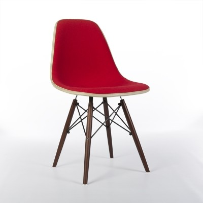 Original Alexander Girard Red Upholstered Eames DSW Side Shell Chair