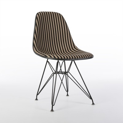 Original Alexander Girard 'Toostripe' Upholstered Eames DSR Side Shell Chair